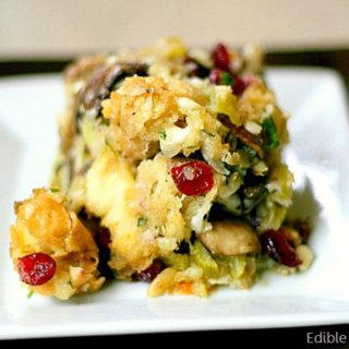 Thanksgiving Stuffing with Mushrooms, Cranberries, Pine Nuts, and Parmesan