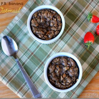 National Breakfast Month: Chocolate Peanut Butter Banana Baked Oatmeal (No Added Sugar!)
