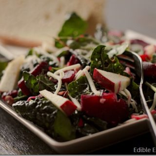 Apple, Roasted Beet, Beet Greens and Kale Salad with an Apple Cider Vinaigrette