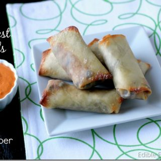 Southwest Eggrolls with Creamy Roasted Red Pepper Dipping Sauce (Vegan)
