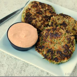 A Healthy St. Patrick's Day Dinner: Asian Green Veggie Cakes with Spicy Mayo Dipping Sauce