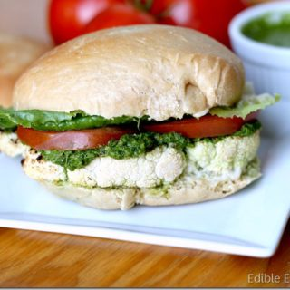 Grilled or Roasted Cauliflower Steak Burgers with Chimichurri Sauce