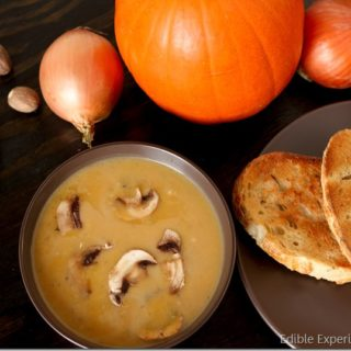 Savory Roasted Pumpkin Soup with Mushrooms