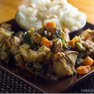 Vegetarian Thanksgiving: Sweet Potato Kale Stuffing
