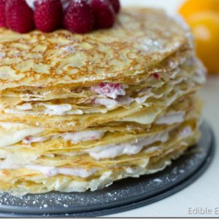 Meyer Lemon and Raspberry Crepe Cake (Perfect Valentine's Day Dessert)