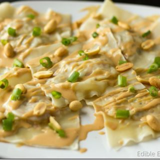 Thai Inspired Raviolis with Cauliflower Veggie Filling and Creamy Peanut Sauce