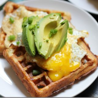 Savory Whole Wheat Waffles with Fried Eggs and Avocado