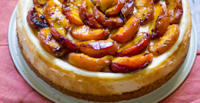 Grilled Peach Cheesecake (Plus Tips for Avoiding Cheesecake Cracking)